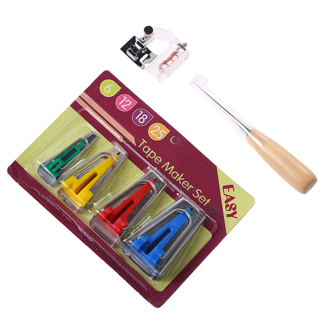 1Set Fusible Bias Binding Tape Makers Awl Kit Set for Sewing Quilting Wood+Steel+Plastic Needle Arts Craft Sewing Quilting Tool