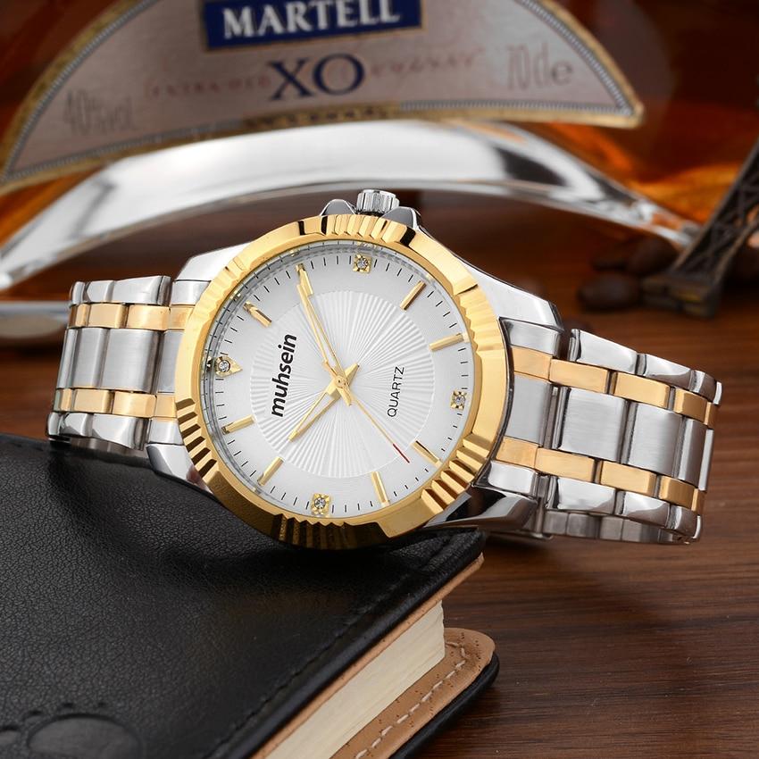 2017 Muhsein luxury casual waterproof stainless steel business watch quartz  sport  men fashion