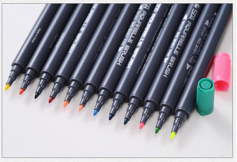 Cabeça dupla coloração escova caneta 24 conjunto