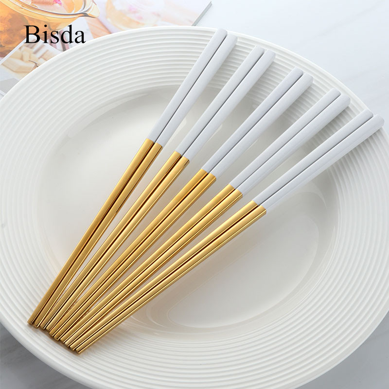 5 Pairs Chinese Chopsticks Stainless Steel Gold chopsitcks Set Titanize Black Metal Chop Sticks Set Used For Sushi Dinnerware