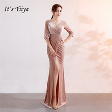 Its Yiiya Chiffon Evening dress V-neck long sleeve trumpet party gowns Floor-length zipper back Mermaid evening dresses C113