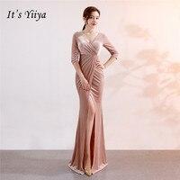 It's Yiiya Chiffon Evening dress V neck long sleeve trumpet party gowns Floor length zipper back Mermaid evening dresses C113
