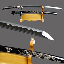 Fully Handmade Samurai Sword Japanese Katana High Carbon Steel Sharp Full Tang Blade Espada Dragon Engraved Saya Knife(China)