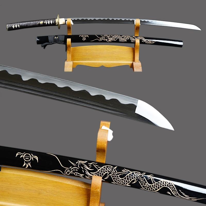 Fully Handmade Samurai Sword Japanese Katana High Carbon Steel Sharp Full Tang Blade Espada Dragon Engraved Saya Knife