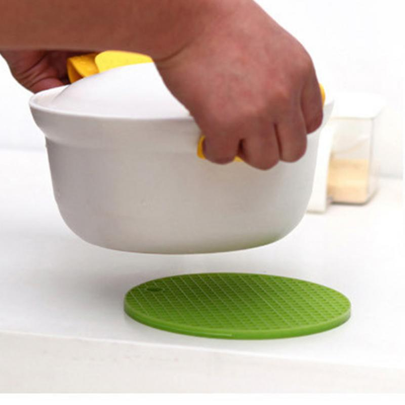 colorful round silicone placemat non slip heat resistant mat coaster cushion pot holder coffee table cup mat kitchen accessories - Kitchen Table Cushions