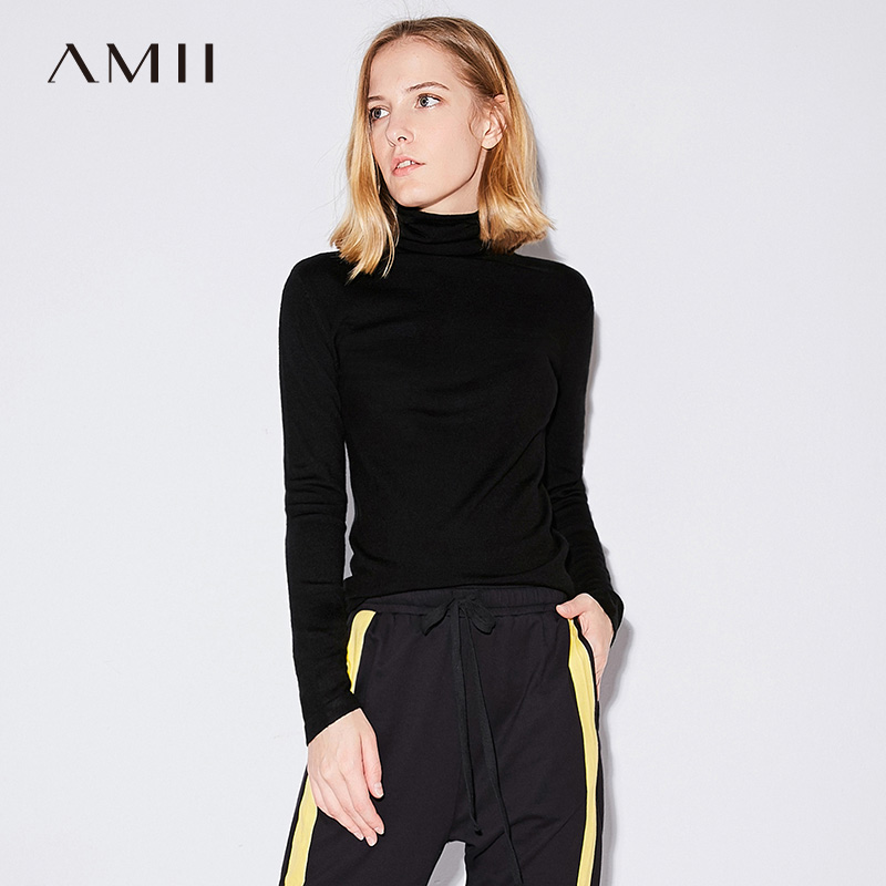 Amii Casual Women Sweater 2017 Solid Turtleneck Long Sleeve Female Pullovers Sweaters