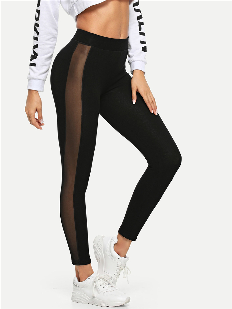 Usstore  Women Yoga Athletic Pants Pencil Plus Size Embroidery Elastic Casual Fitness Sports Leggings Trousers