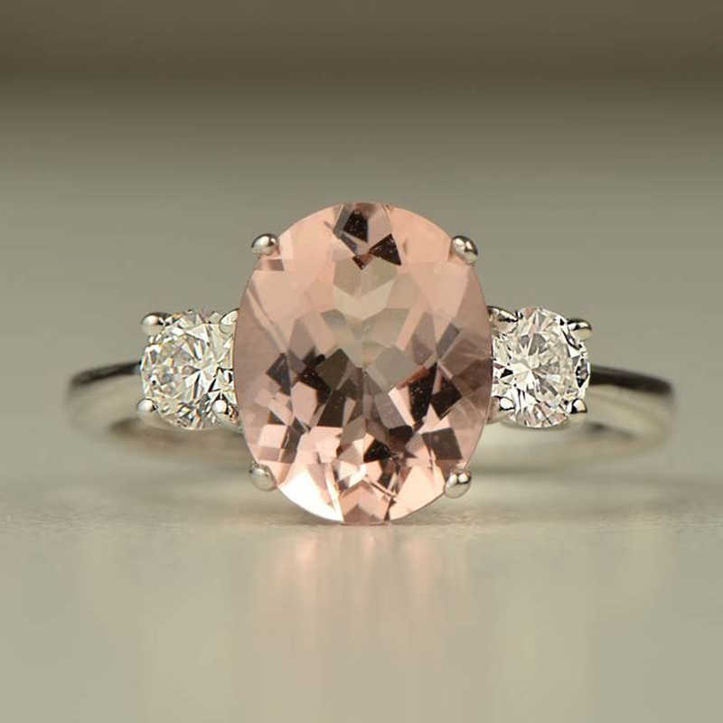 Pink morganite Ring Rose Gold Wedding Jewelry crystal stone Rings Bague for Women Gifts Girl Luxury Crystal Anel zirconia Z3X618