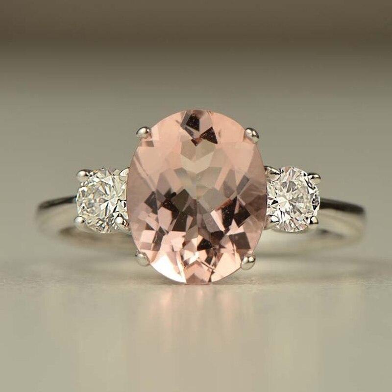 Bague morganite Rose bijoux de mariage en or Rose Bague en pierre de cristal pour femmes cadeaux fille luxe cristal Anel zircone Z3X618