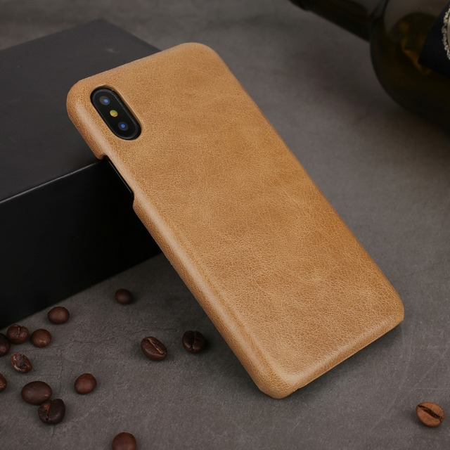 timeless design 7740d e6b41 US $8.99 40% OFF|For iPhone XS Max Case Cover Genuine Leather Back Shell  Slim Fit Protective Cover Snap on Cases for iPhone XS XR XS Max Coque-in ...