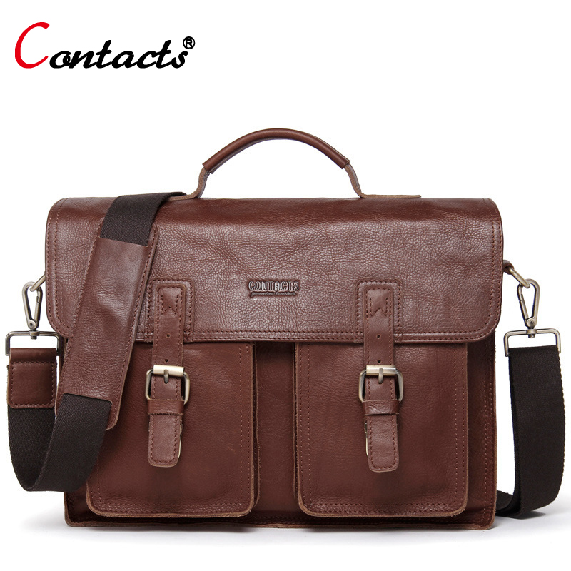 CONTACT'S Famous Brand Cow Genuine Leather Bag Men Shoulder Messenger Bags For Men Soild And Zipper Business Laptop Briefcase european and american fashion black leather zipper man bag design famous manberce brand male shoulder messenger bags