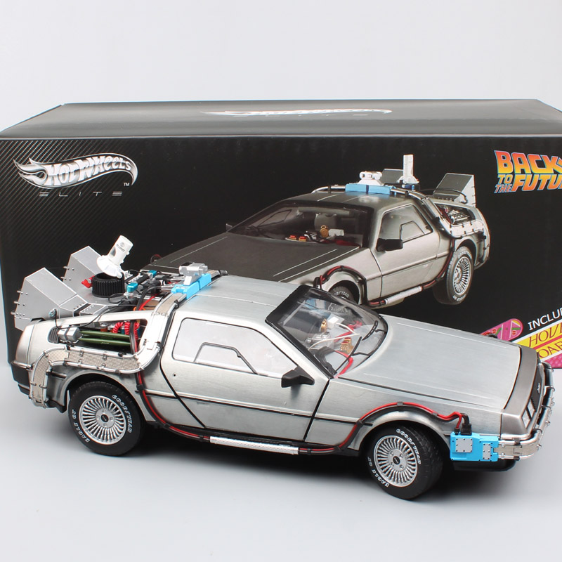 kid 1:18 scale DeLorean DMC Back to the future time machine mr fusion hoverboard hot diecast cars metal vehicles free wheels toy
