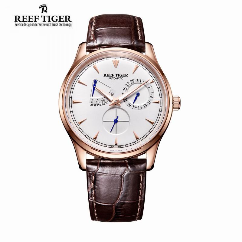 Reef Tiger/RT Mens Elegant Automatic Watches with Power Reserve Complete Calendar Rose Gold Watch RGA1980 декор monopole veronica tea cup crema brillo 10x40