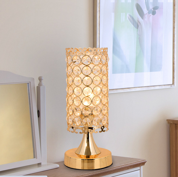 Crystal table lamp e14 bedside living room dimmer modern k9 office light shade lamps decoration - Bedside lamps with dimmer ...
