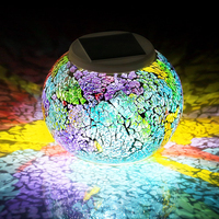 Color Changing Solar Powered Glass Ball Led Garden Light Rechargeable Table Lamp Outdoor Waterproof Solar Night Light Decoration