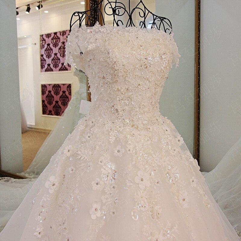 2019 printemps été romantique de luxe fleurs arc dentelle appliques paillettes tulle tiffany bleu robe de mariée xj98850 blanc long train - 3