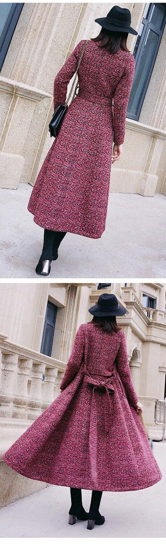 Épaissir Hiver Manteau Veste Taille De Impression Élégant Élevé Nouveau Grande Gray Manteaux En Automne Longues Laine Mince Femmes Grade Cachemire red Corée gPO565xq