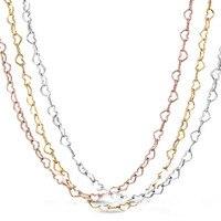 Новое ожерелье из стерлингового серебра 925 пробы, розовое золото и серебро, соединенные сердца, цепочка, ожерелье для женщин, свадебный пода...