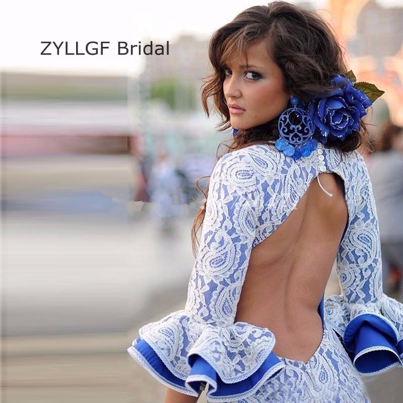 91a6f2f0c ZYLLGF de Novia Sexy de Encaje Sin Espalda Vestidos de Noche Vieja Piso-Longitud  Larga Importados Mujeres vestidos de Noche Elegantes Con Mangas SA4