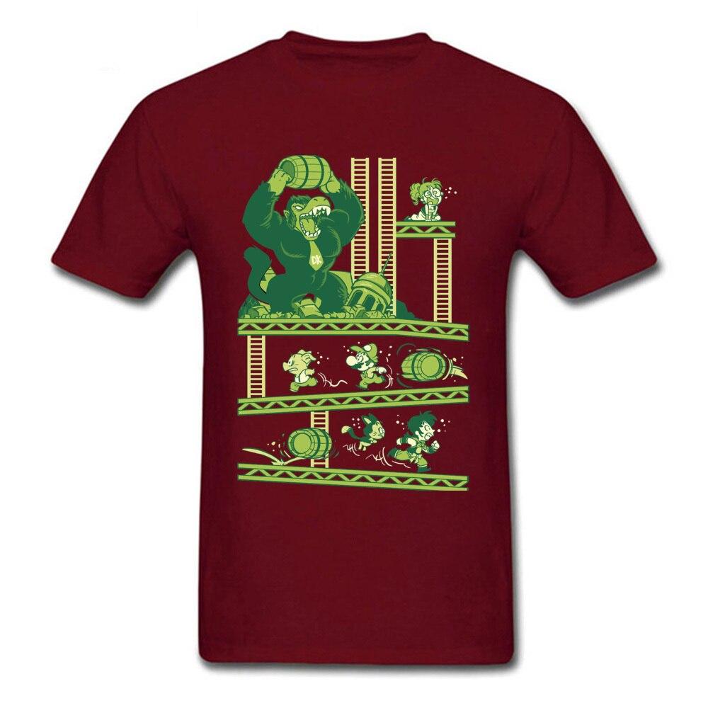 Dragon-Kong-Ball-Super-Mario Mens 2018 Hot Sale Tops Shirt O-Neck Fall Pure Cotton T-Shirt Printed On Short Sleeve Tshirts Dragon-Kong-Ball-Super-Mario maroon