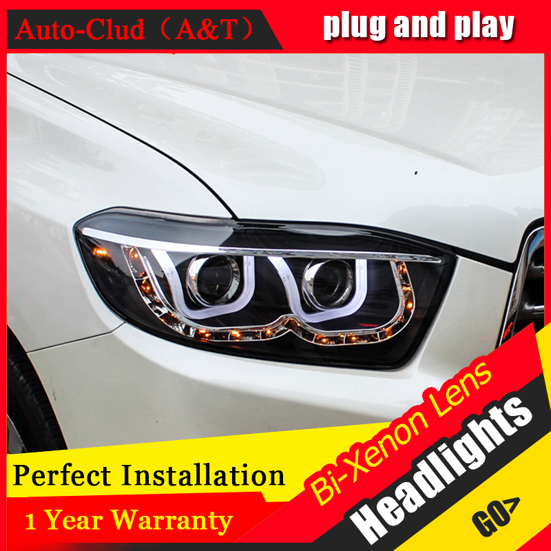 Car Styling For TOYOTA Highlander headlight For Highlander head lamp Angel eye led front light Bi-Xenon Lens xenon HID KIT headlamp polishing paste kit diy headlight restoration car plastic restore car head light motor cleaner renew lens polish kit