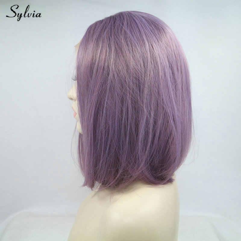 Peluca corta de Color púrpura lavanda pelo sintético Color claro Bob peluca frontal de encaje recto pelucas resistentes al calor para fiestas de mujer