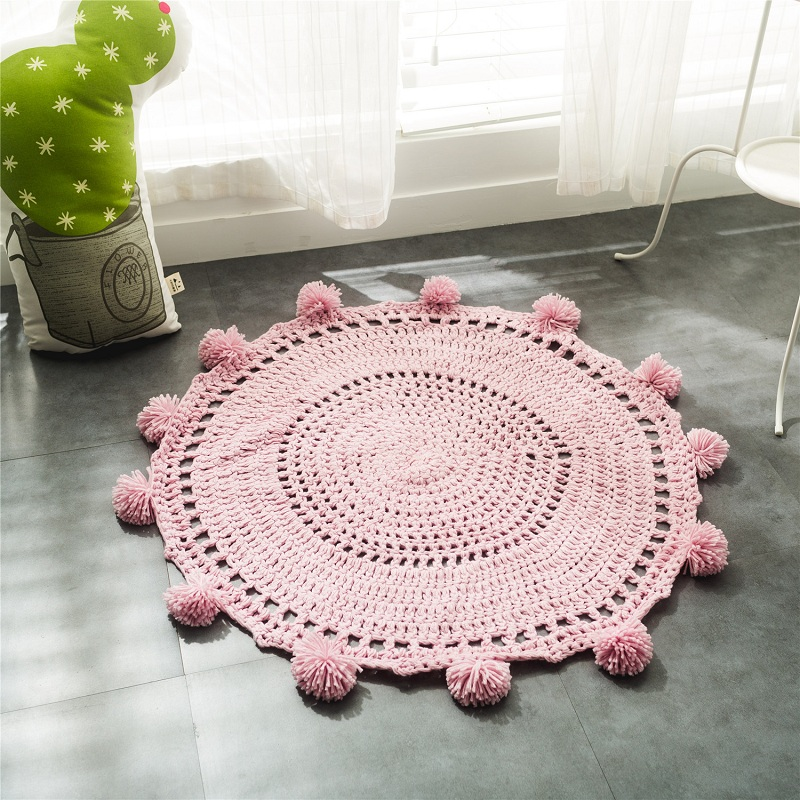 Knitted Hand Children Carpet Knitting Mats Round Rug Wave Window Pad Bedroom Decor Kids Play Bedroom