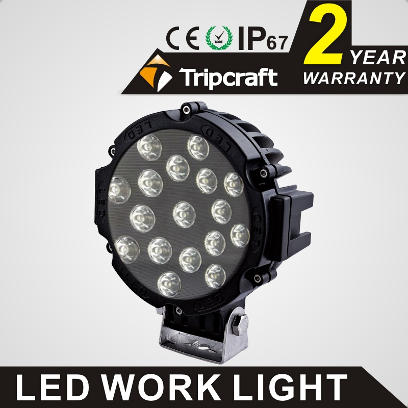 TRIPCRAFT 2PCS 51w led work light super bright car Driving Lamp For Offroad Boat Truck Trailer SUV ATV LED Fog Light SPOT FLOOD tripcraft 126w led work light bar 20inch spot flood combo beam car light for offroad 4x4 truck suv atv 4wd driving lamp fog lamp