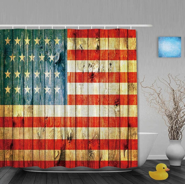 The USA Flag On Antique Wooden Classic Shower Curtains Waterproof ...