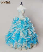 2017 Hot Pink Blue Quinceanera Dresses Ball Gown With Beads Cheap Quinceanera Gowns Sweet 16 Dress
