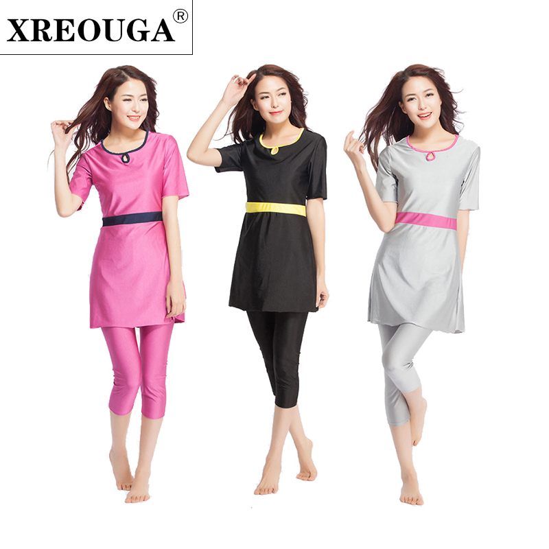 XREOUGA Muslimah Swimwear Muslim Young Girl Swimming Clothes Short Sleeve Islamic Conservative Swimming Suit S-XXXL цена и фото