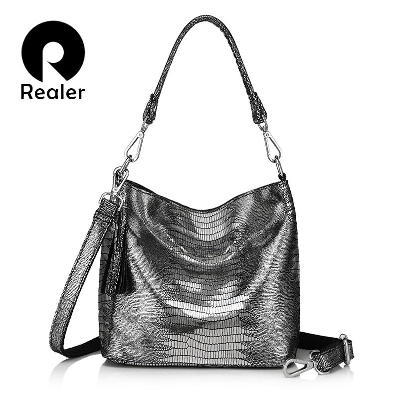REALER women handbags genuine leather crossbody shoulder bags female hobos bag animal prints leather messenger bags