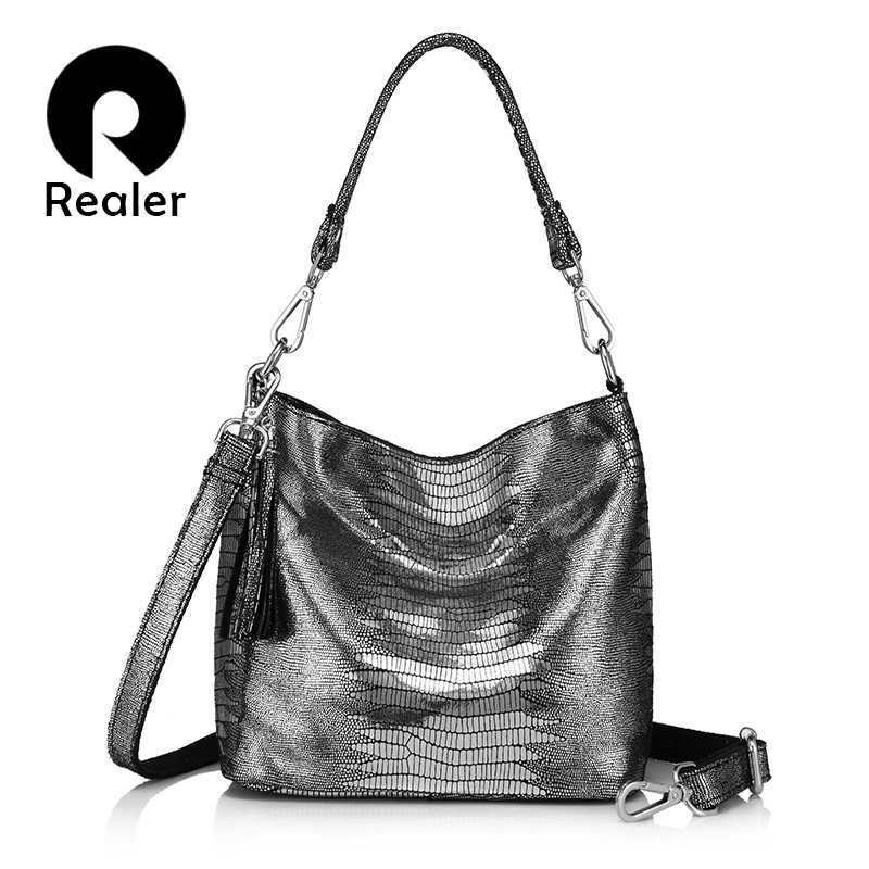REALER women handbags genuine leather crossbody shoulder bags female hobos bag animal prints leather messenger bags ladies totes