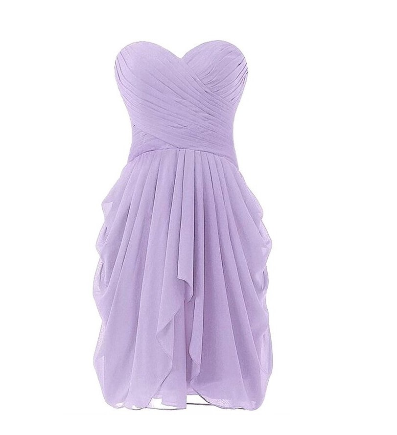 Lavender Bridesmaid Dress Short Chiffon Gowns Strapless Off the ...