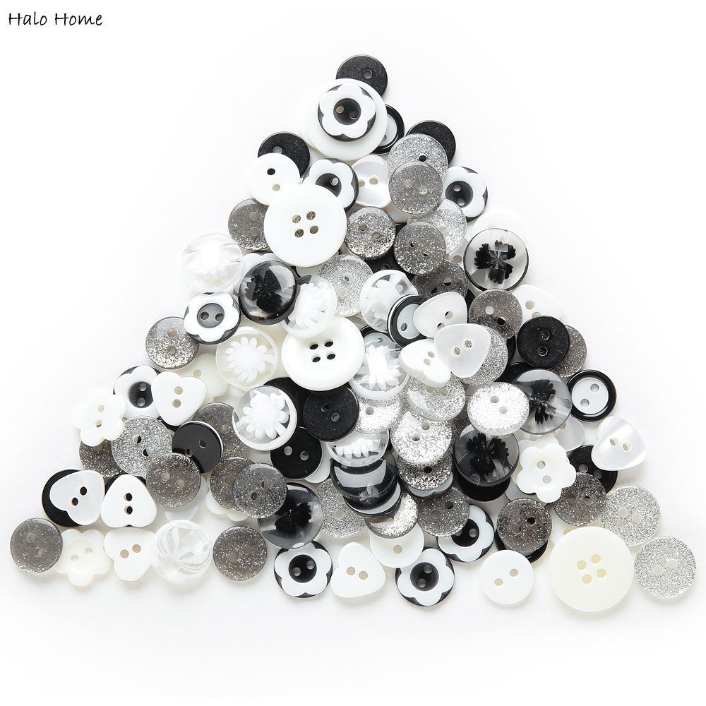 Høy kvalitet Rike Farger Resin Mix 40 Gram Sweet Buttons Dekorative Sying Svart Hvit Skrapbook Forfriskende DIY Making11-18mm