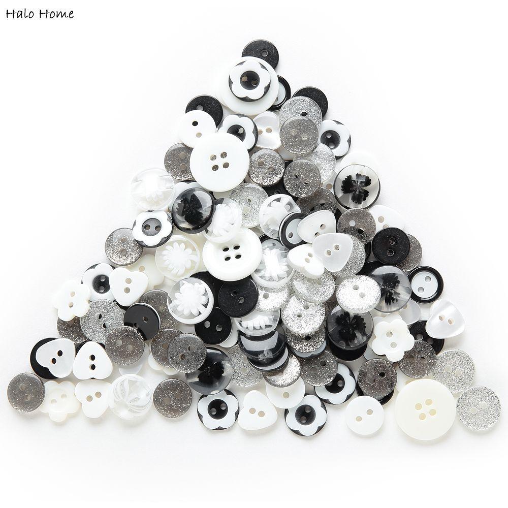 Hohe Qualität Reichen Farben Harz Mix 40 Gramm Süße Knöpfe Dekorative Nähen Schwarz Weiß Sammelalbum Erfrischende DIY Making11-18mm