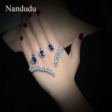 Nandudu nueva llegada zirconia brazalete palma regalo de joyería de moda brazalete de cristal de lujo de la mano r1115 r1117