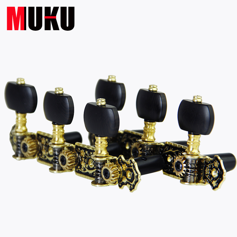 MUKU AOS-020HV3P Black Classical Guitar Machine Heads Tuner Keys Tuning Pegs Long 3+3/set