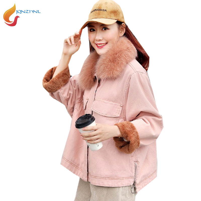 Color Grande Photo Le De Col Renard denim pink Fourrure Denim Laine Lâche Coton G425 Veste Boutique Épaissir Velours Plus D'agneau Taille Femmes Blue HCqznWxwF