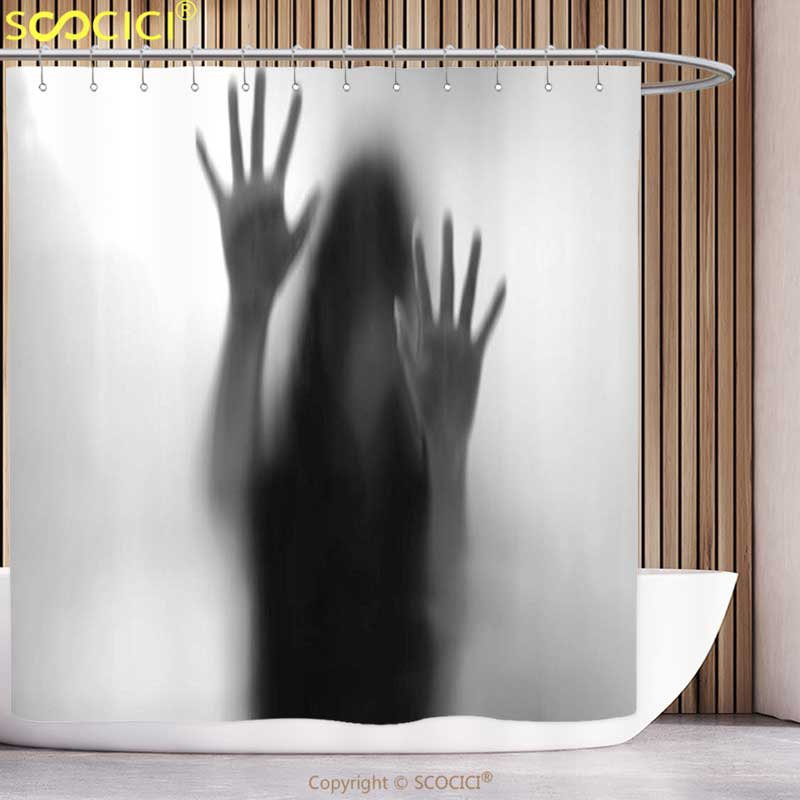 Funky Shower Curtain Horror House Decor Silhouette of Woman behind the Veil Scared to Death Obscured Paranormal Photo Gray