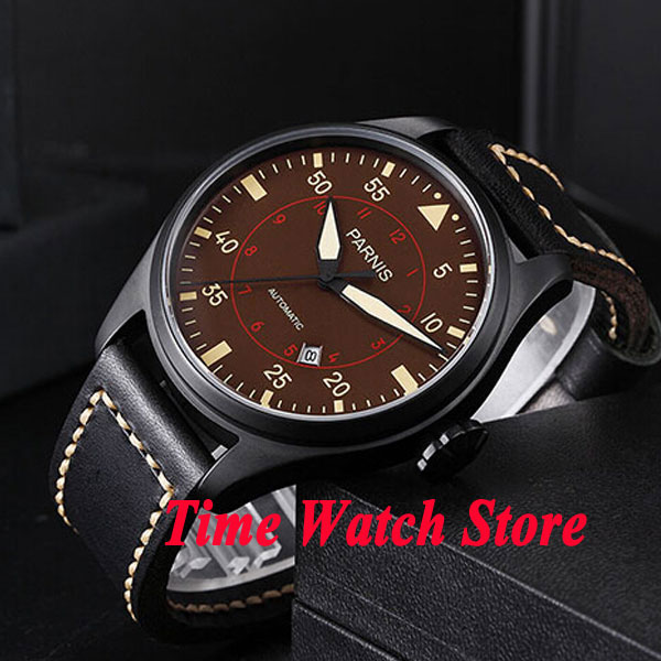 47mm parnis coffee dial luminous PVD case dual time zone MIYOTA automatic movement mens watch 36747mm parnis coffee dial luminous PVD case dual time zone MIYOTA automatic movement mens watch 367