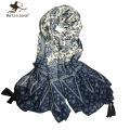 [Marte&Joven] Oversized Blue and White Porcelain Ethnic Style Flower Print Thin Scarf Women Exquisite Tassels Foulard Bandana