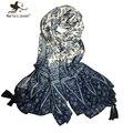 [Marte y Joven] Porcelana Azul y Blanca de Gran Tamaño de Estilo Étnico Estampado de Flores Mujeres Exquisito Borlas Foulard Bufanda Delgada Bandana