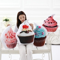 3D Printed Cupcake Pendant Donut Chocolate Cake Hang Series Home Room Decorations Plush Toys Candy Doll