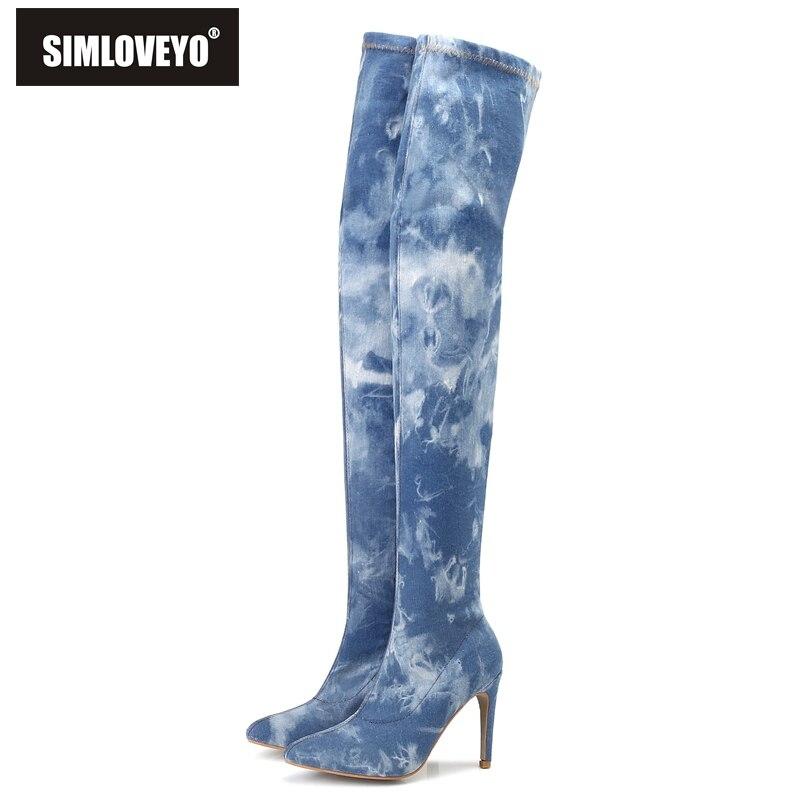 Azul flower Botas Blue 2018 Calientes Cremallera Tacones Feminino Punta  Blue Mezclilla Rodilla Zapatos B786 Dark ... cb39880711f0