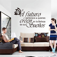 Spanish vinyl wall stickers butterfly letters quote wall decals artist home decoration wallpaper house decoration DW0669