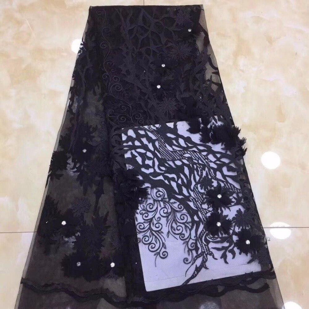 Tissu de dentelle africaine pour robe de mariée tissu de dentelle française de haute qualité avec diamant mode nigérian dentelle tissu noir argent (FJ3