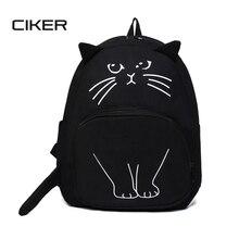 Ciker прекрасный кот Печать Рюкзак Для женщин рюкзак Школьные сумки для подростков дамы Повседневное милый рюкзак Bookbags machilas