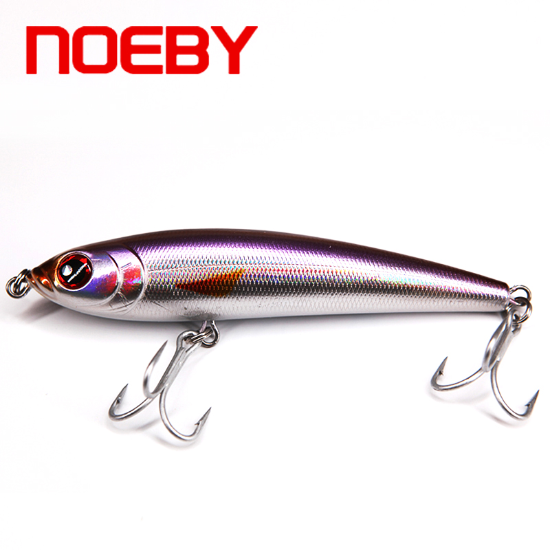 Noeby NBL 9062 Free Shipping Artificial Hard Fishing Lure with French VMC Hooks Pencil Bait 3D Fish Eyes Sinking Fish Lures sealurer 5pcs fishing sinking vib lure 11g 7cm vibration vibe rattle hooks baits crankbaits 5 colors free shipping