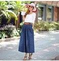 2016 spring and summer belt button big yards thin section high waist pleated skirt A word big swing denim skirt female bust